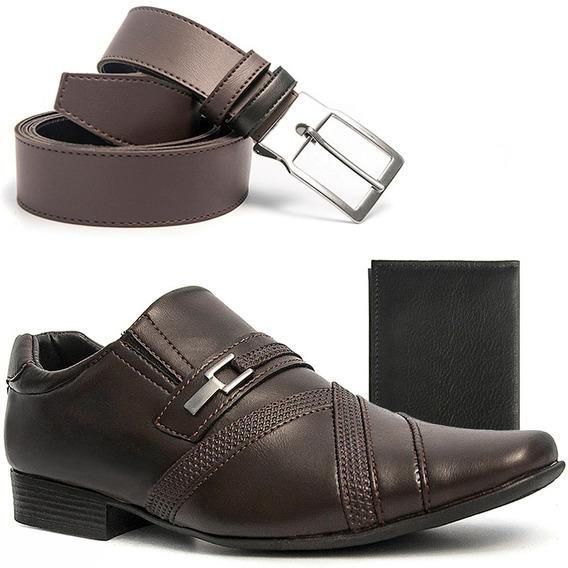 Sapato Masculino Social Salazari Com Cinto E Carteira