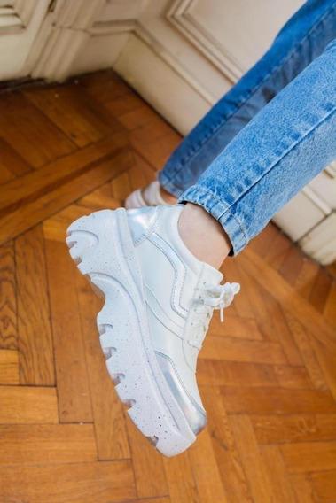 Zapatillas Sneakers Con Plataforma Combinadas Con Charol