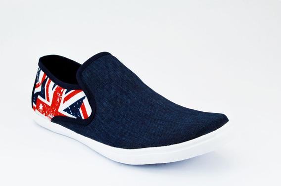 Mocasin De Meter Textil Bandera Britanica Para Caballero