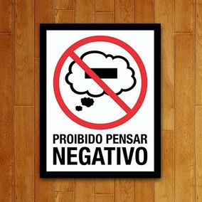 Placa Decorativa Nerd - Proibido Pensar Negativo