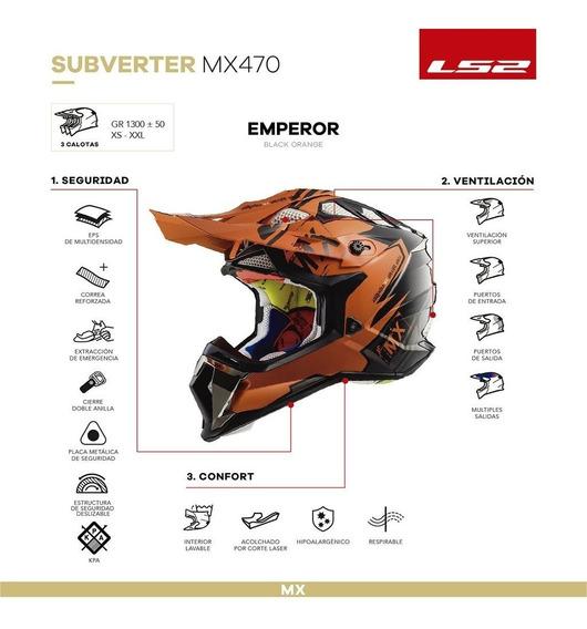 Casco De Cross Moto Ls2 470 Subverter Emperor Orange Yuhmak