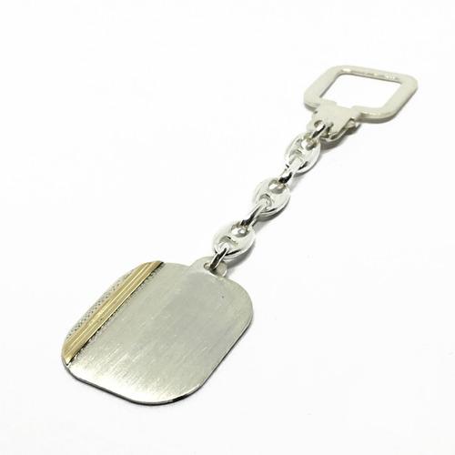 Llavero Plata Y Oro Para Grabar Rectangular (con Grabado)