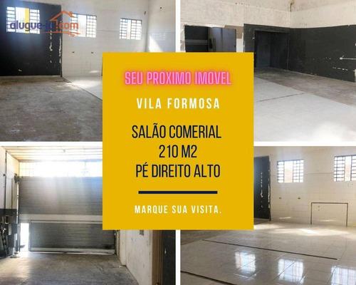 Salão Comercial Vila Formosa Para Alugar, Pé Direito Alto, 210 M2 - Sl0111