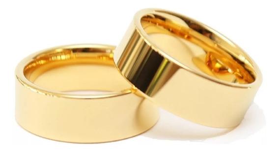 Aliança Casamento Noivado Banhada Ouro 18k Reta
