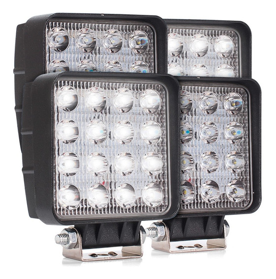Kit Com 4 Farol Auxiliar Milha Cree 48 Watts 16leds Off Road