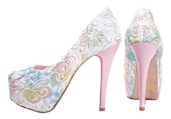 Sapato Peep Toe Nude Alto Fino Festa Noiva Formatura Renda