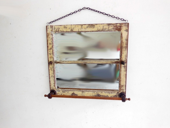 Porta Toalhas E Cabide Rústico De Janela Antiga C/ Espelho