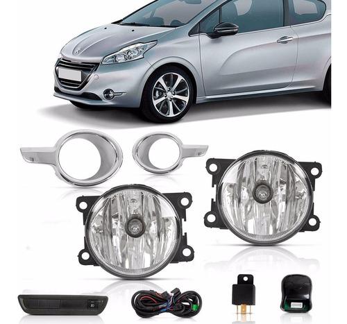 Imagem 1 de 4 de Kit Milha Peugeot 208 13 14 15 16 Moldura Cromada Auxiliar