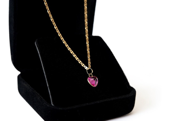 Cordão Em Ouro 18k Piastrine 45cm Ping Coração
