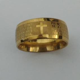 Atacado 36 Anel Aliança Aço Oração Pai Nosso Dourado Revenda