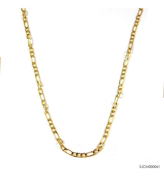 Corrente 3x1 Chata Banhada A Ouro 18k Sjcm000061