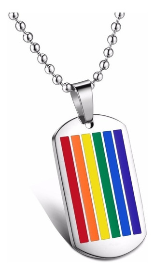Collar Gay Tipo Dogtag Arcoiris Pride