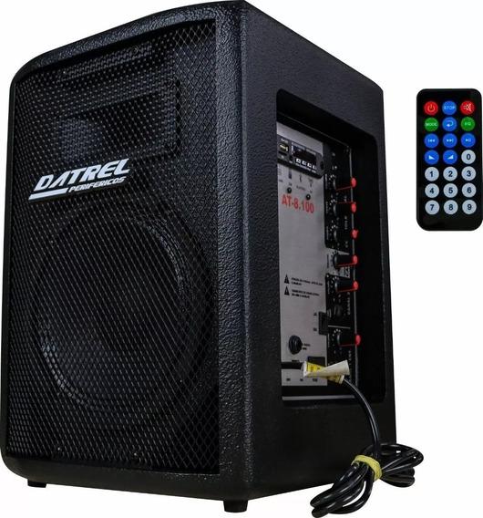 Caixa De Som Datrel 100w Ativa 8 Fm Usb Pendrive Bluetooth