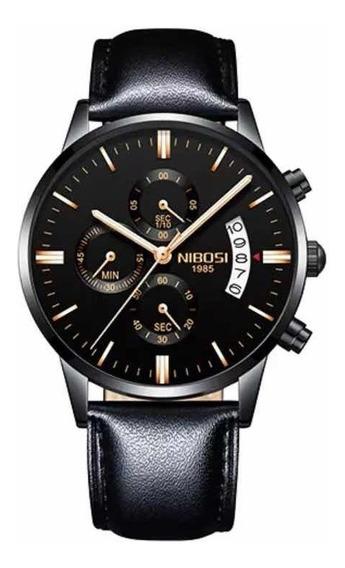 Relógio Nibosi Original Em Couro De Luxo A Prova D