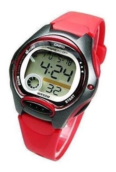 Lw-200-4av Relogio Casio Digital Feminino Pequeno Vermelho