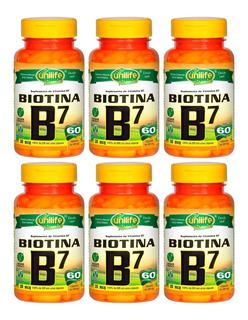 Vitamina B7 Biotina 30mcg 60 Cápsulas 500mg Unilife Kit 6un
