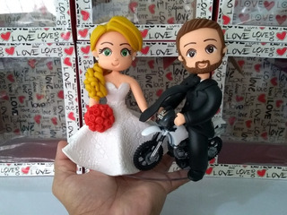 Noivinhos Topo De Bolo Personalizado Casamento Moto Enfeite