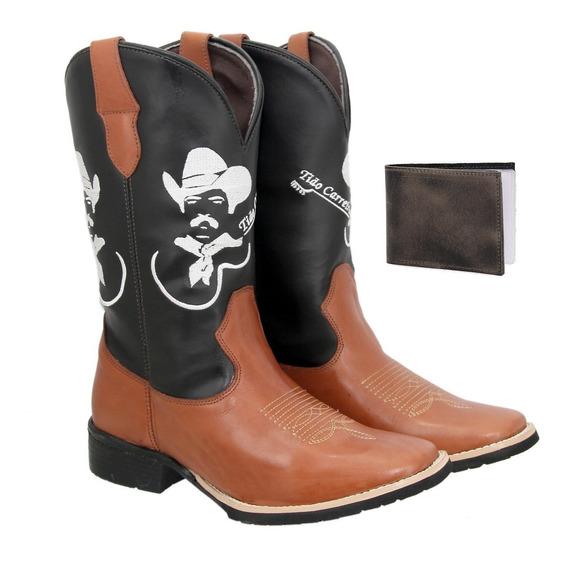 Bota Texana Country Masculina Couro Tião Carreiro+carteira