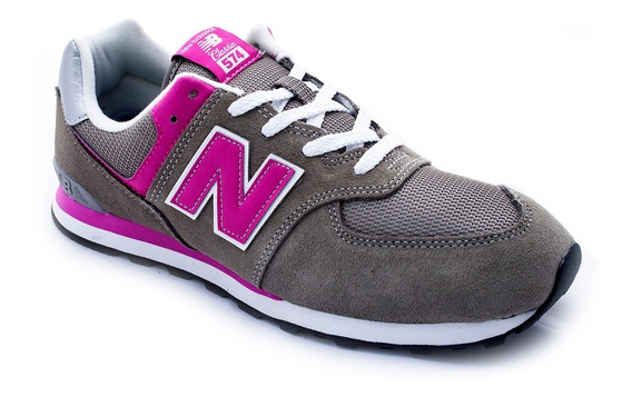 Zapatilla New Balance 574 Gp Gris Fucsia Kids