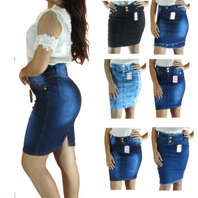 c30d523367 Kit 10 Saias Jeans Evangélica Feminina Midi Atacado Promoção