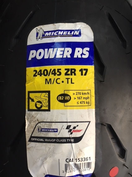 Pneu Moto Michelin Power Rs 240/45-17 Tras. Ducati Diavel