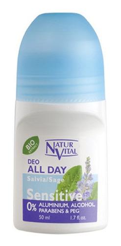 Imagen 1 de 2 de Desodorante Roll On Sensitive Salvia 50 Ml Natur Vital