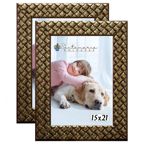 Imagem 1 de 3 de Kit 2 Molduras Porta Retrato 15x21 3cm Relevo Dourado