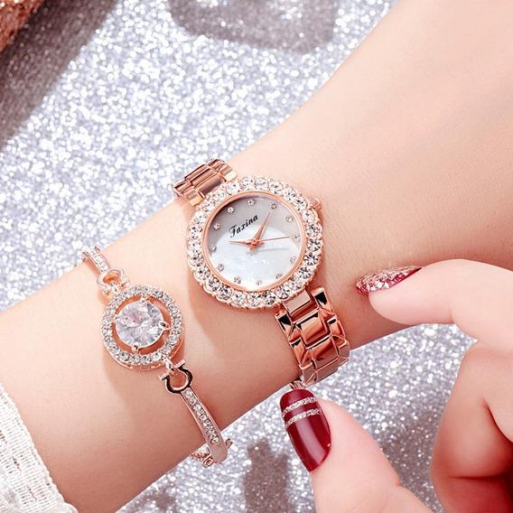 Conjunto Relógios De Pulso 2pçs Pulseira Diamantes Dourado