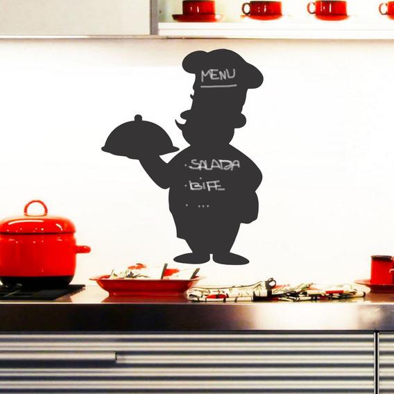 Adesivo Parede Menu Chefe Cozinha Chef Quadro Negro Lousa
