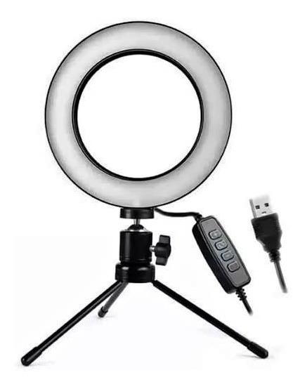 Iluminador De Led C/mini Tripe Ringlight Usb 3500k6000k