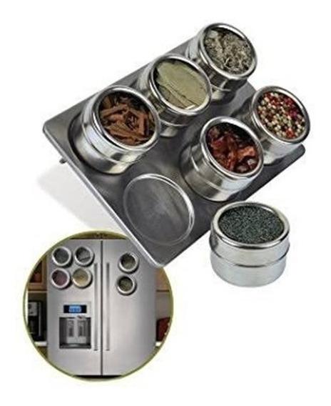 Porta Condimento Tempero Magnético Em Inox 6 Potes C/ Imã
