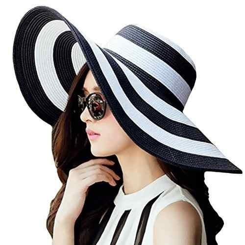 Itopfox Beachwear Para Mujer Sombrero De Sol Sombrero De Paj