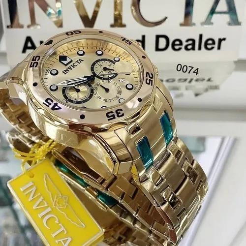 Relógio Invicta Pro Driver 0074 Banhado A Ouro 18k Promoção