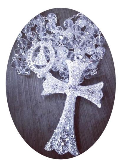 Terço De Noiva N.s. Aparecida Cristal Banho Prata Delicado
