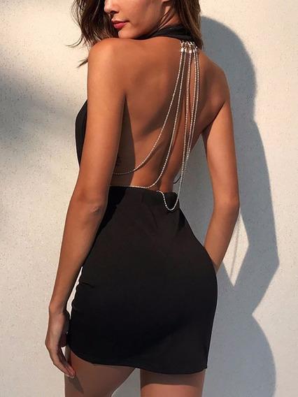 Vestido Corto Sexy De Fiesta Con Cadenas En La Espalda