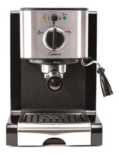 Cafetera De Espresso Y Capuchino, Color Negro Y Acero Inox.