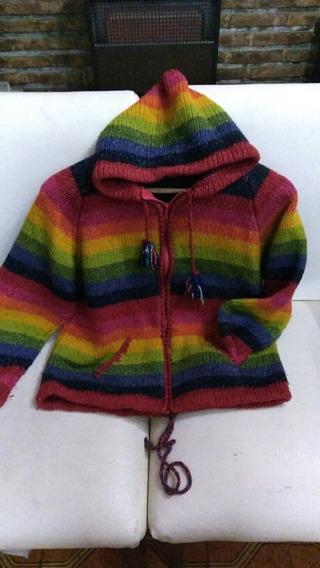 Saco Cardigan Sweater Con Capucha Lana Oveja Mujer
