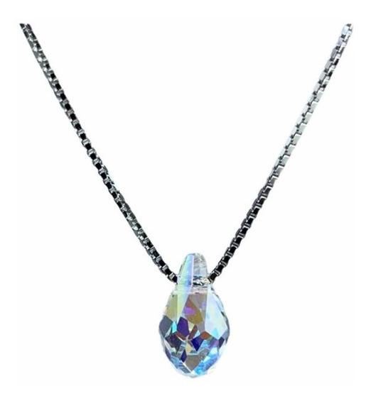 Cadena De Plata 925 Dije Gota De Cristal Swarovski Elements