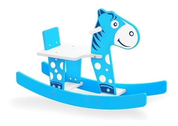 Gangorra Infantil Cavalinho Balanco Em Madeira Azul Junges