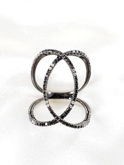 Anel Moderno Ouro Branco Rodio Negro Cravejado De Diamantes