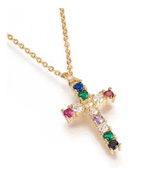 Collar De Acero Inoxidable Cruz Zirconias Color Rainbow