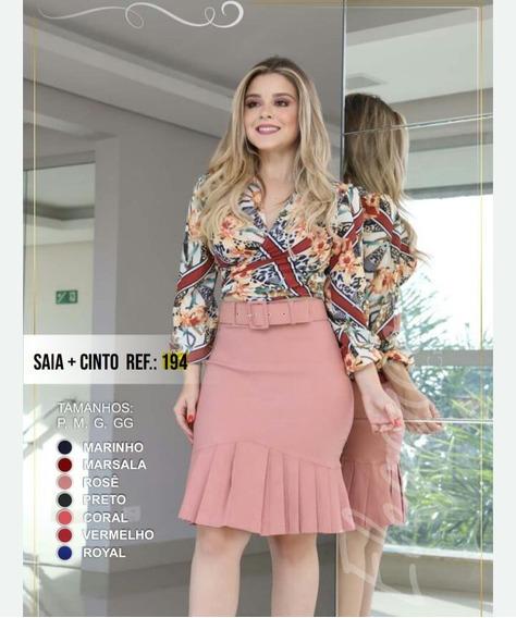 Saia + Cinto Moda Evangélica Cintura Alta Midi (promoção)