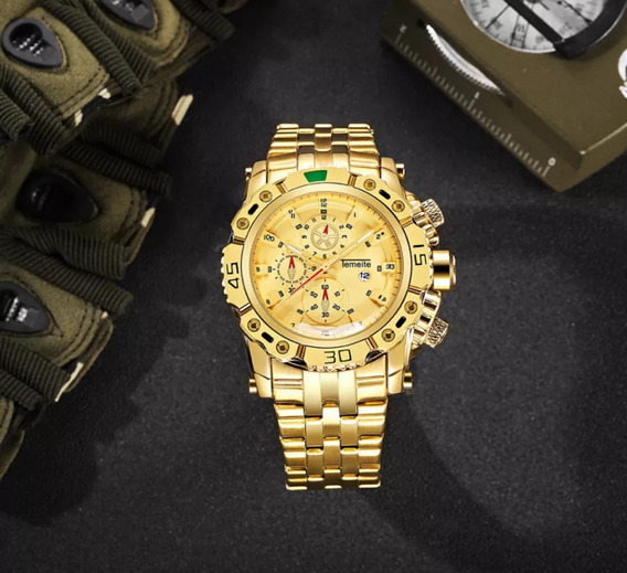 Relógio Masculinos Temeite Dourado/dourado