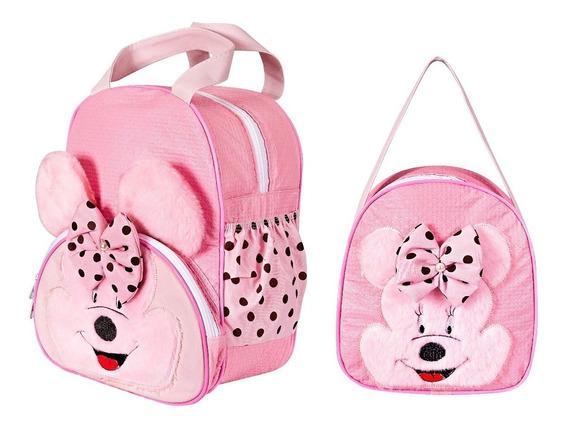 Kit Mochila Infantil Ratinha Zoo - Menina P E G - Escolar