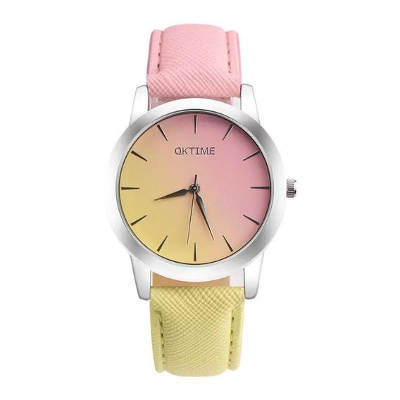 Relógio De Pulso Amarelo E Rosa Raimbow - Envio Imediato