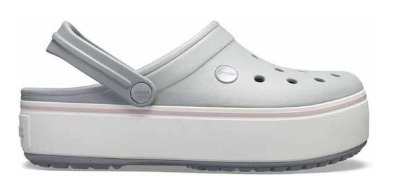 Sandalia Crocs Dama Crocband Platform Clog Gris