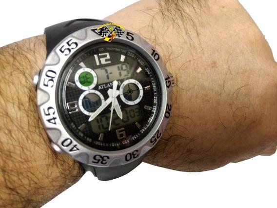 Relógio Masculino Esportivo G5518 Atlantis Anadigi Prateado