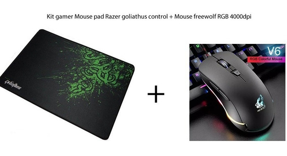 Kit Mouse Rgb Gamer 4000dpi + Mousepad Razer Goliathus Médio