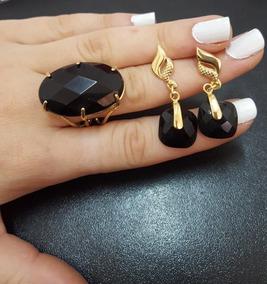 Conjunto Semi Joia Pedra Natural Obsediana Negra