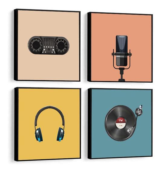 Quadro Decorativo Música Rádio Mic Fone Disco Colorido 32x32